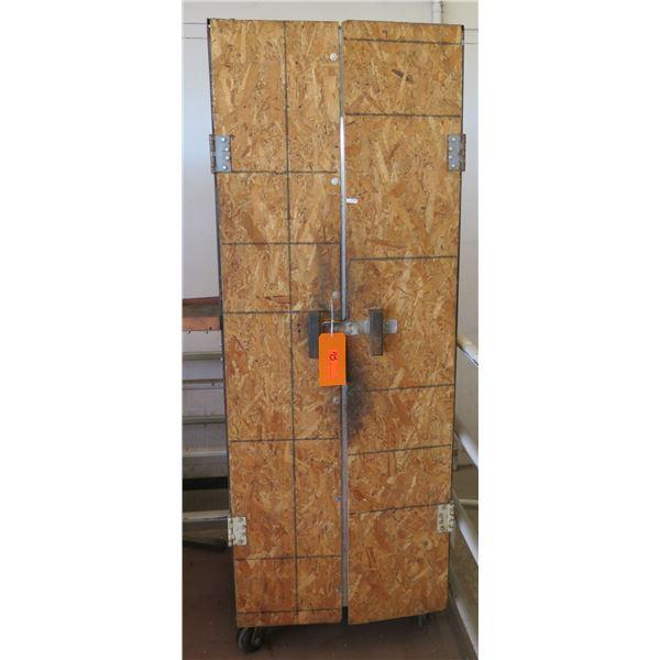 Press Wood 2 Door Storage Cabinet w/ 4 Inside Shelves on Wheels 27 x25 x80  Ht.