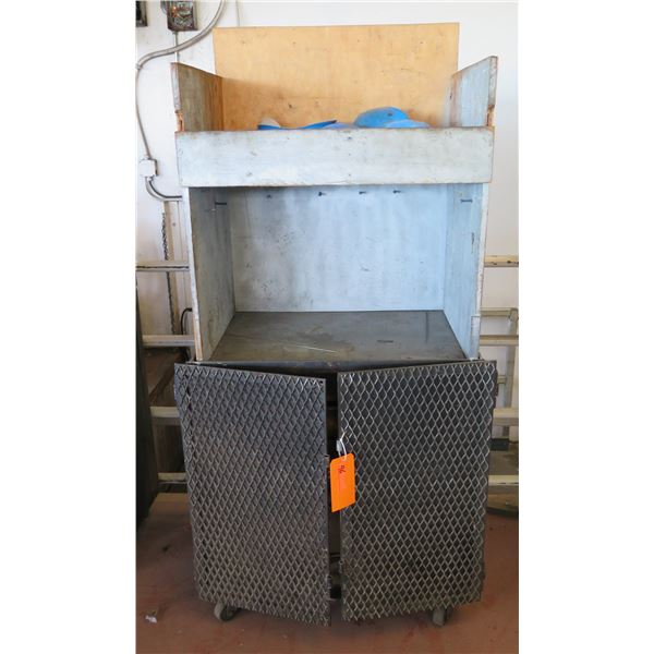 Metal Wire 2 Door Storage Cabinet on Wheels w/ Top Shelf 34 x24 x70  Ht.