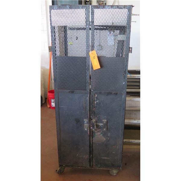 """Metal 4 Door Storage Cabinet on Wheels w/ Inside Shelving 26""""x18""""x69"""" Ht."""