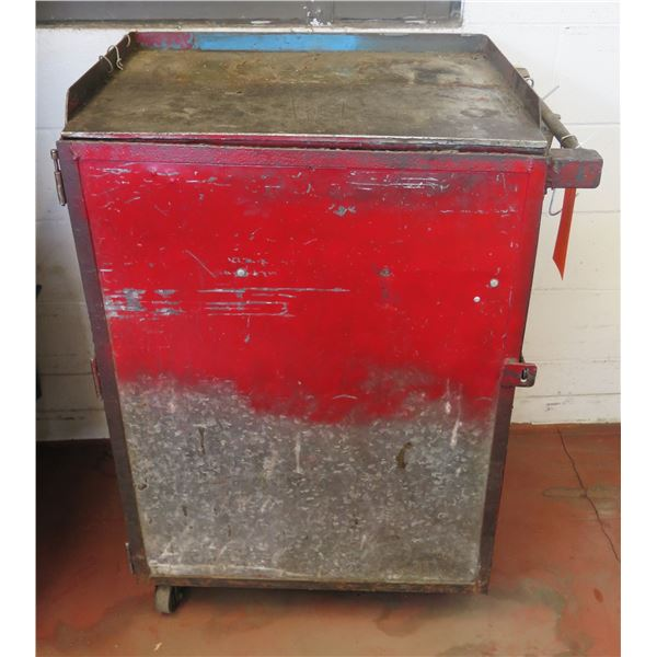 "Metal Red Single Door Storage Cabinet on Wheels w/ Shelving 28""x20""x38"" Ht."