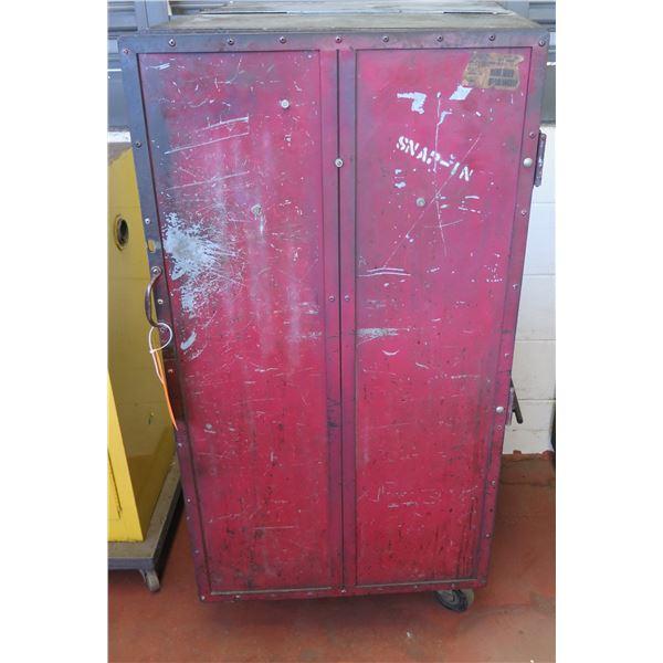 "Metal Red 2 Door Storage Cabinet on Wheels w/ Shelving 24""x25""x51"" Ht."
