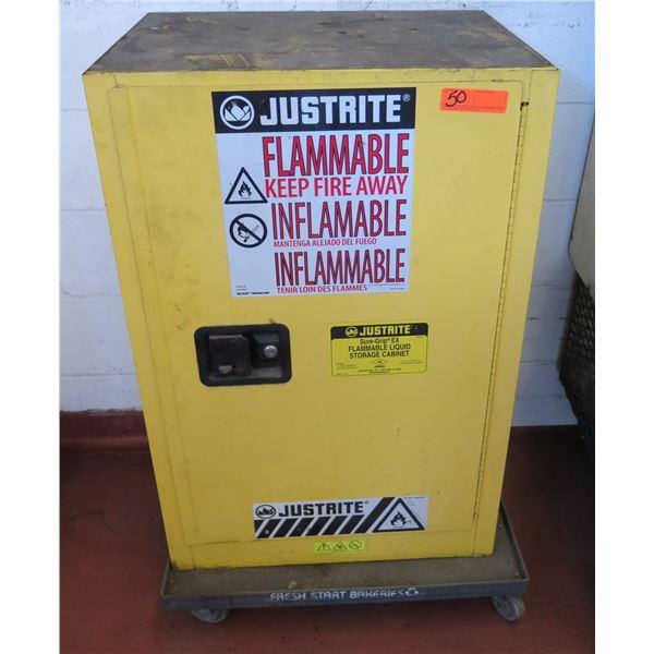 JustRite Sure-Grip EX Flammable Liquid Metal Cabinet on Wheels
