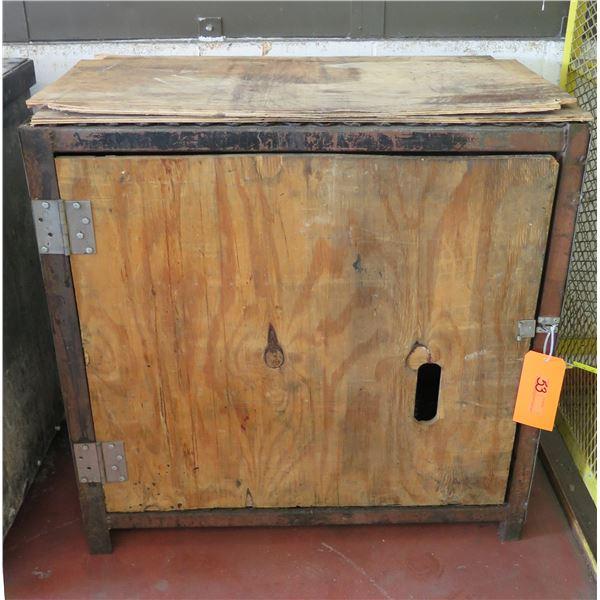 """Wood & Metal Single Door Storage Cabinet w/ Shelving 36""""x20""""x38"""" Ht."""