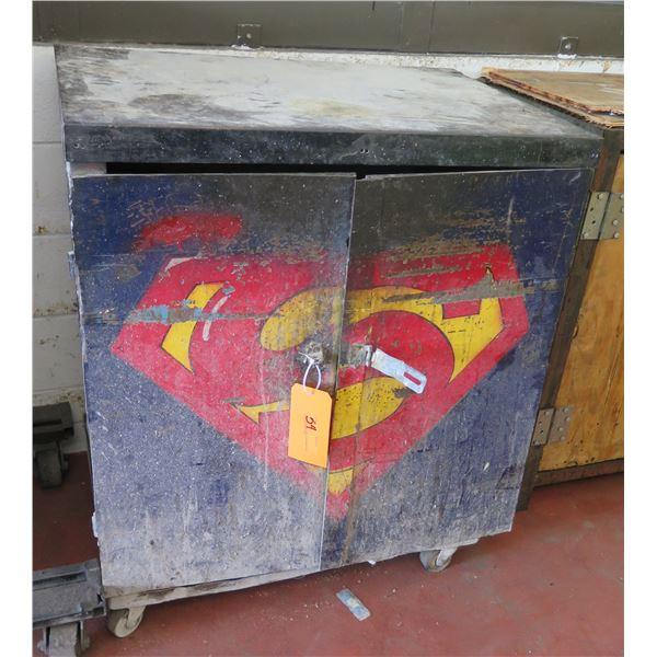 "Metal Blue 2 Door Storage Cabinet on Wheels w/ Shelving 36""x24""x40"" Ht."