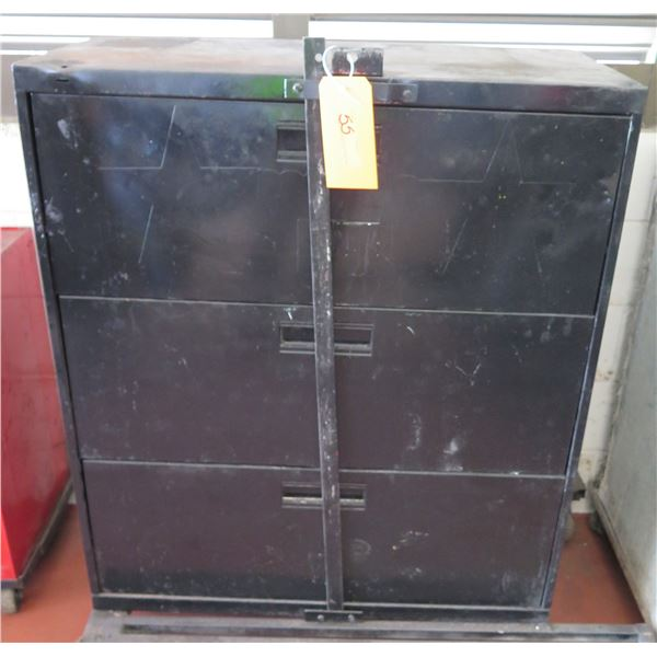 "Metal Lateral 3 Door File Cabinet w/ Lock Bar 36""x19""x40"" Ht."