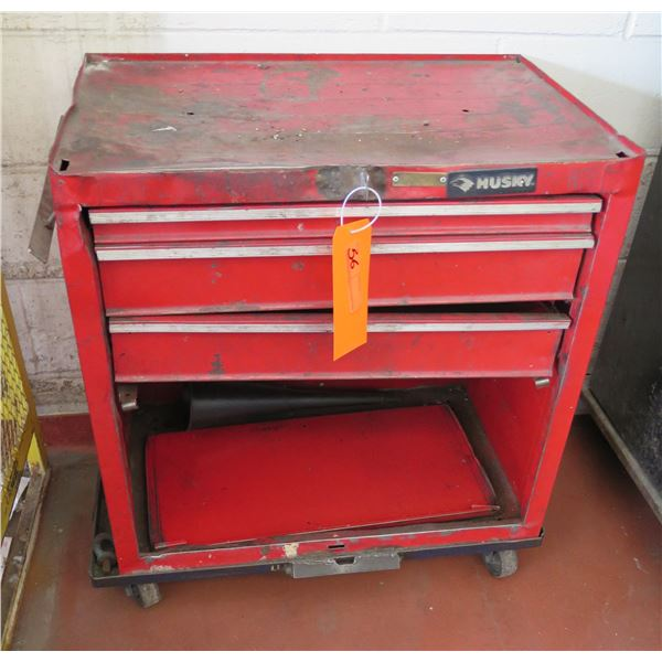 "Husky Red Metal 3 Drawer Rolling Tool Box 26""x18""x31"""