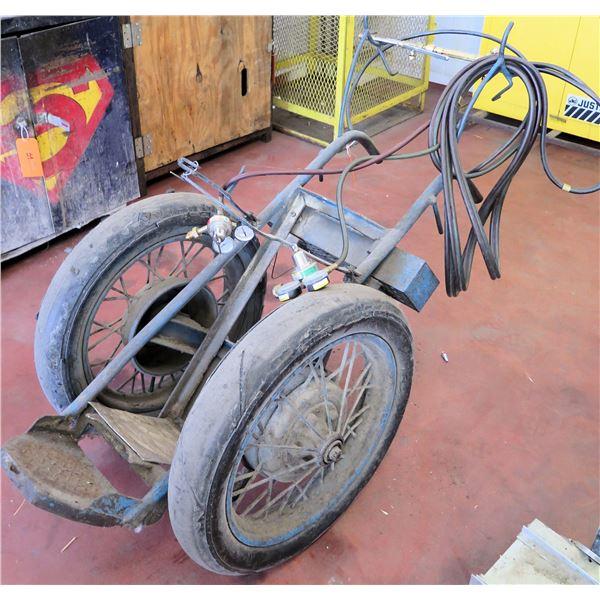 Rolling Welding Cart w/ Hoses, Gauges, Nozzle, etc