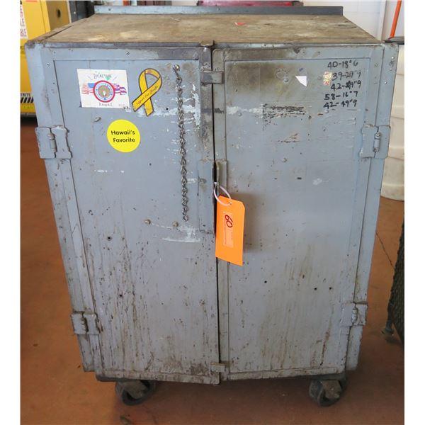 "Metal Red 2 Door Storage Cabinet on Wheels w/ Shelving 29""x19""x44"" Ht."