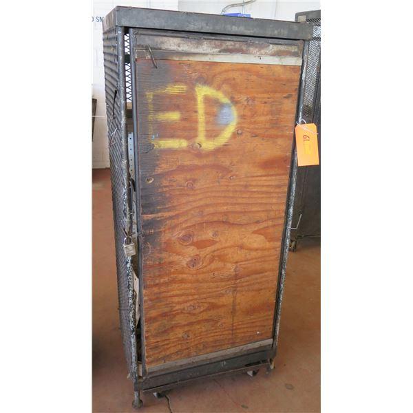 """Metal Wire & Wood Single Door Storage Cabinet 26""""x22""""x62"""" Ht."""