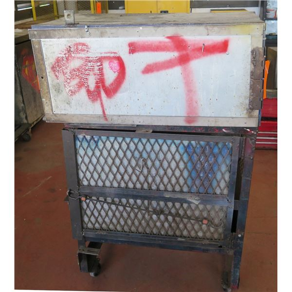 "Qty 2 Metal Wire Storage Boxes (1 on Wheels) 34""x19""x52"" Ht."