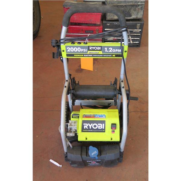 Ryobi Pressure + 2000 PSI Premium Electric Pressure Washer on Wheels