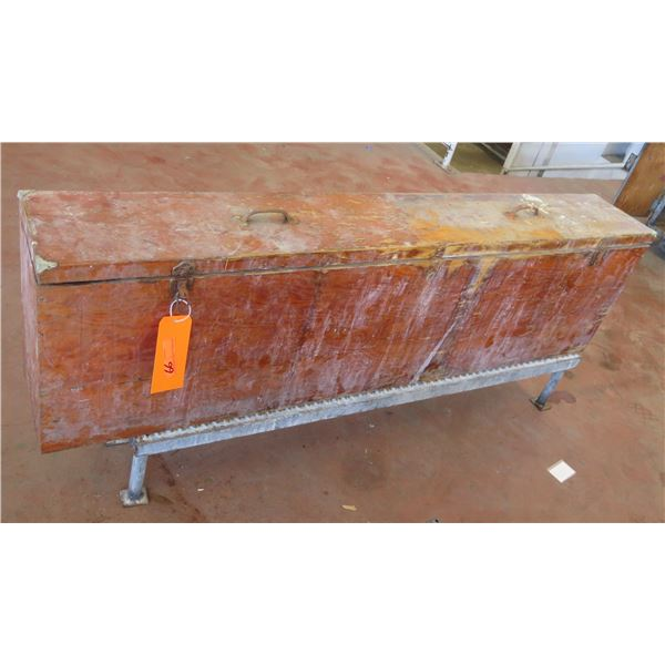 """Long Wooden Storage Box on Stand 70""""x10""""x30"""" Ht."""