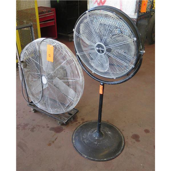 """Qty 2 Shop Fans: Utilitech Fan w/ Pedestal Base & 30"""" Round Floor Fan"""