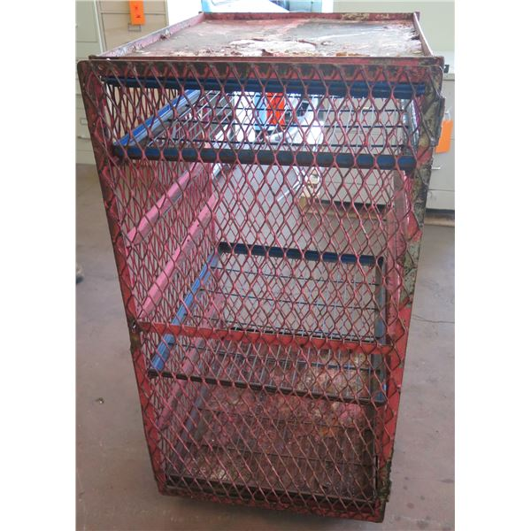 "Metal Wire Single Door Storage Cabinet w/ Shelving 21""x26""x46"" Ht."