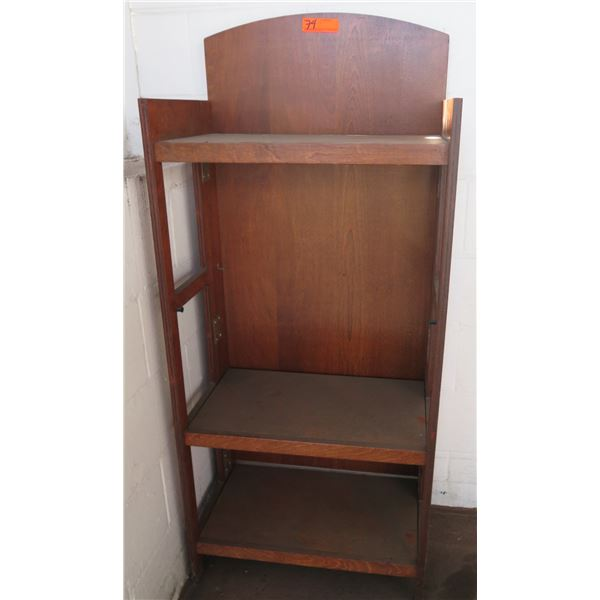 """Wooden 3 Tier Shelving Unit w/ Curved Top & """"Love's Bakery"""" Carving"""