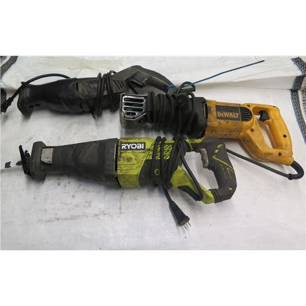 Qty 3 Reciprocating Saws: Ryobi RJ1861V, DeWalt DW304P & Craftsman