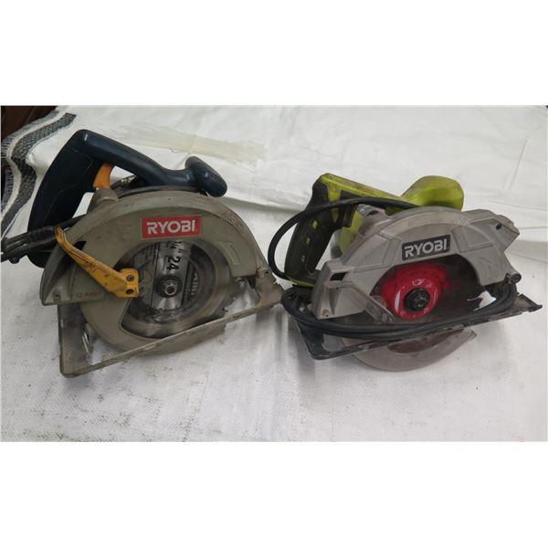"""Qty 2 Ryobi Circular Saws: 1/4"""" 12 Amps & CSB135L 7-1/4"""""""