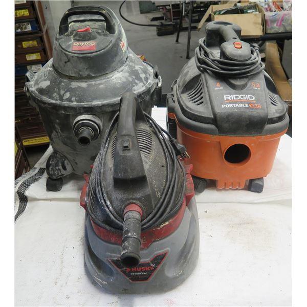 Qty 3 Shop Wet/Dry Vacuums: Ridgid, Husky & Dayton