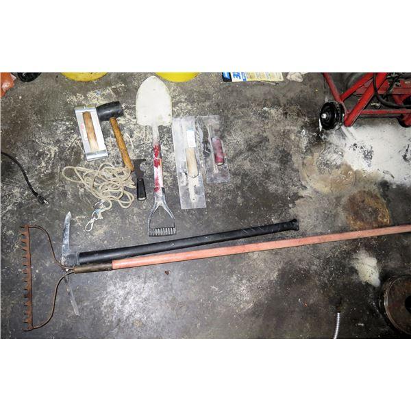 Misc Tools: Rake, Hand Sander, Shovel, Rubber Mallet, etc