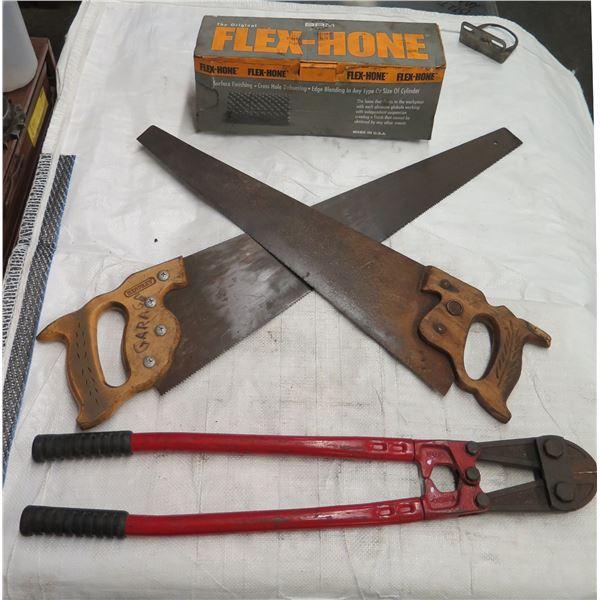 Qty 2 Hand Saws, Wire Cutters & BRM Original Flex Hone in Box