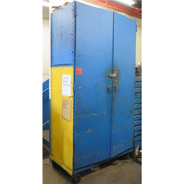 Metal 2 Door Cabinet w/ Inside Shelving & Wheels (Contents not included)