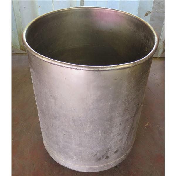 "Round Metal Barrel on Wheels 23"" Diameter x 30"" Ht."
