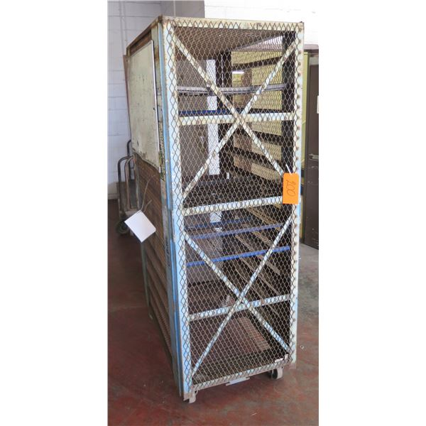 "Metal Wire Single Door Storage Cabinet w/ Inside Shelves & Wheels 29""x44""x78"" Ht."