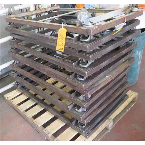 """Qty Approx. 11 Square Rolling Rack Bases 27"""" Square x 6"""" Ht."""