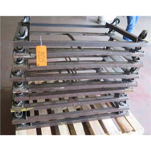 """Qty 9 Square Rolling Rack Bases 27"""" Square x 6"""" Ht."""