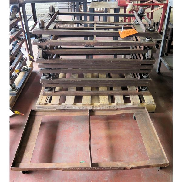 """Qty Approx. 9 Square Rolling Rack Bases 44""""x26""""x5"""" Ht."""
