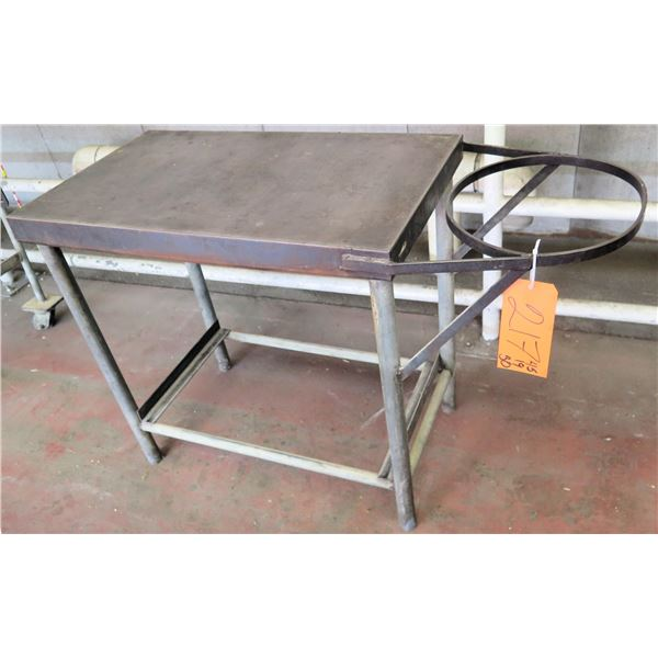"Metal Table w/ Round Attachment 45""x19""x30"" Ht."