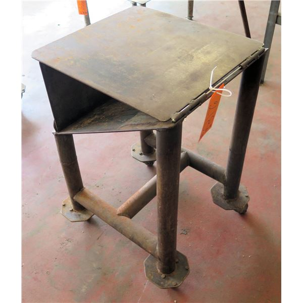 "Metal Table on Wheels w/ Folding Attachment 19""x21""x30"" Ht."