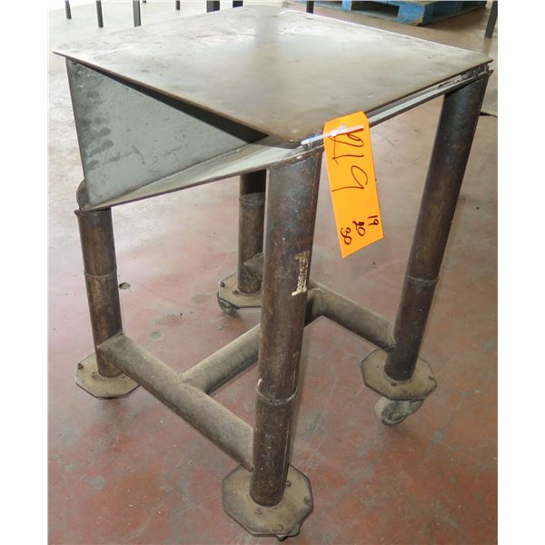 "Metal Table on Wheels w/ Folding Attachment 19""x20""x30"" Ht."