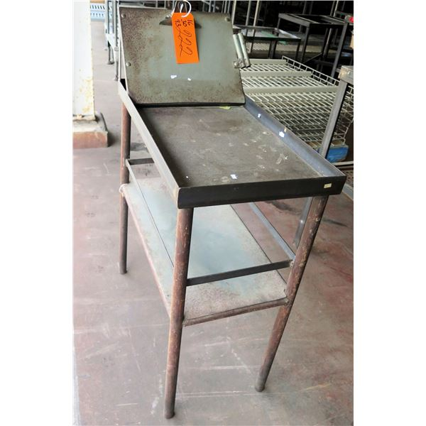 "Metal Table on Wheels w/ Folding Attachment 16""x30""x43"" Ht."