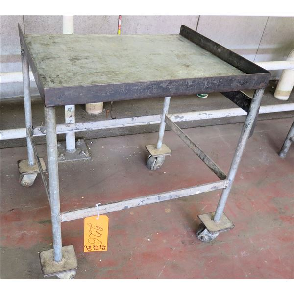 "Metal Shop Table on Wheels 27""x23""x30"" Ht."