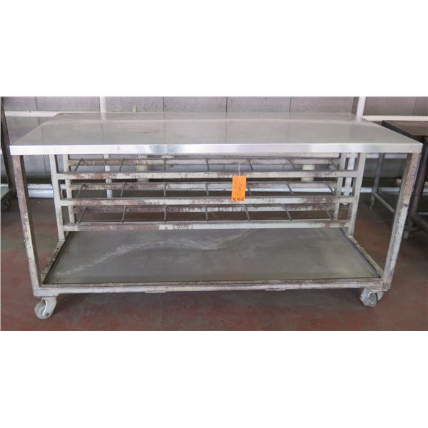 "Metal Shop Table on Wheels w/ Undershelf 72""x32""x37"" Ht."