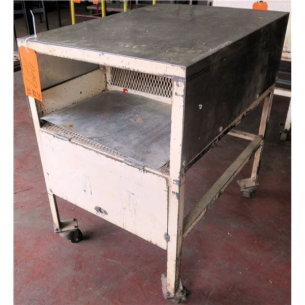 "Metal Shop Table on Wheels w/ Drawer 30""x22""x33"" Ht."