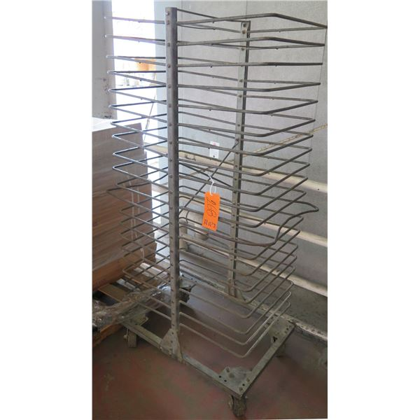 "Rolling Metal Multi Tier Cooling Rack 25""x42""x72"" Ht."