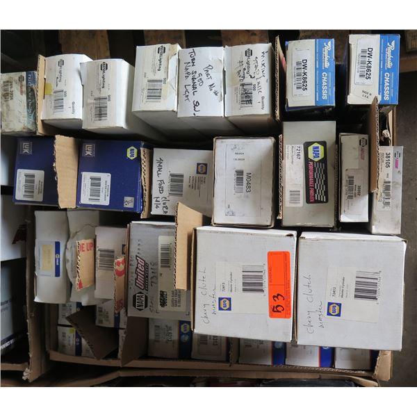 Box Multiple NAPA Master Cylinders, Clutch Parts, Brake Hose, Lighting, Raybestos DW-K8625