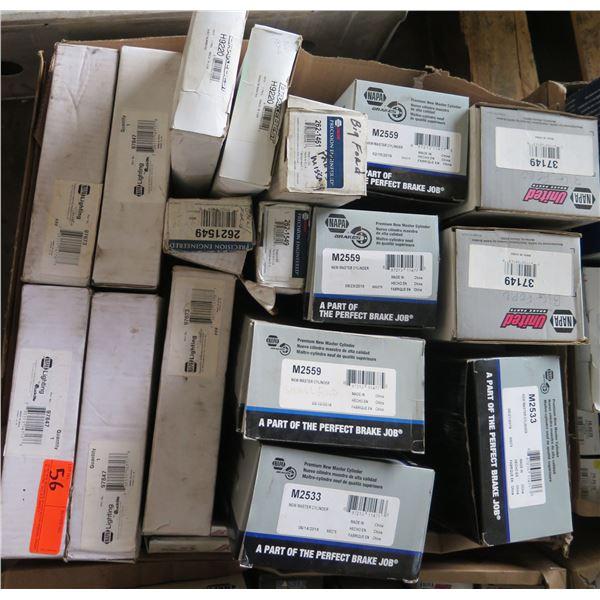 Box Multiple NAPA & Wagner Brakes Hoses, Maxi-Pack Brake Shoe Hardware Kits, etc