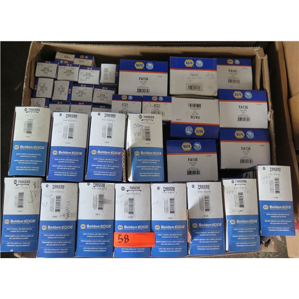 Box Multiple NAPA Belden Edge Spark Plug Wire Sets, Distributor Caps, Ignition Coil, etc