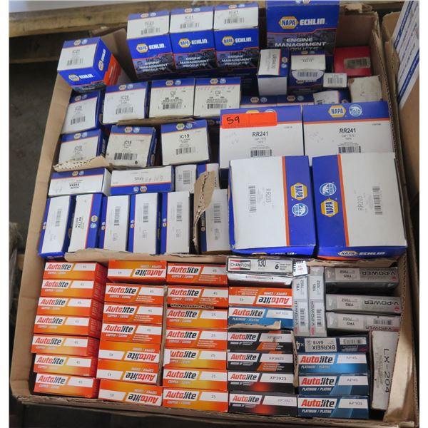Box Multiple NAPA Ignition Coils, Rotors, Distributor Caps,  Autolite Copper Spark Plugs