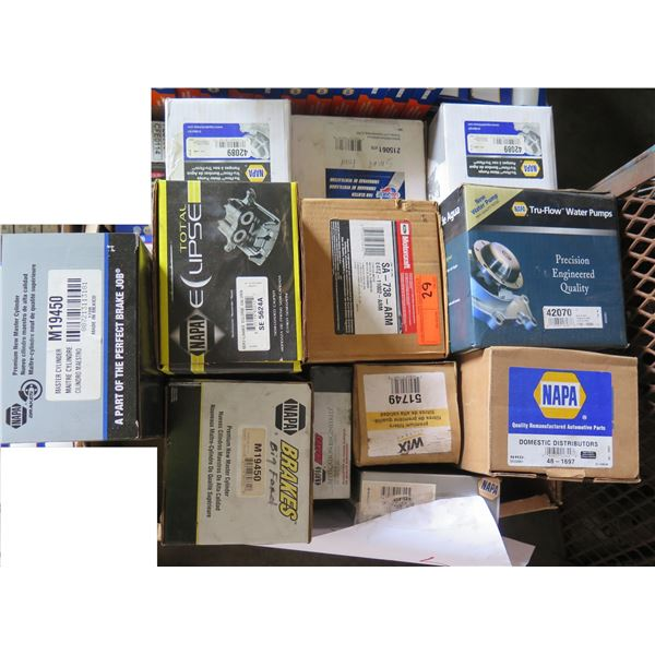 Box Multiple NAPA Water Pump, DOM Distributors, Solenoid, CarQuest Fan Clutch, etc
