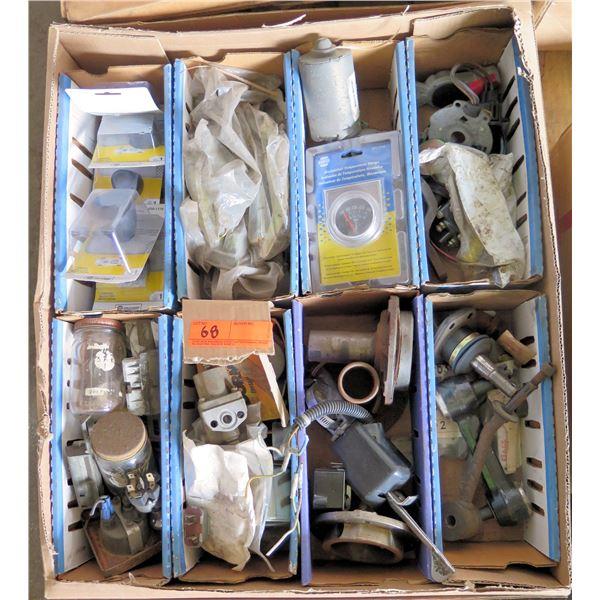 Box Multiple NAPA Gauges, Bushings, Tie Rod Ends, Misc Loose Parts & Hoses