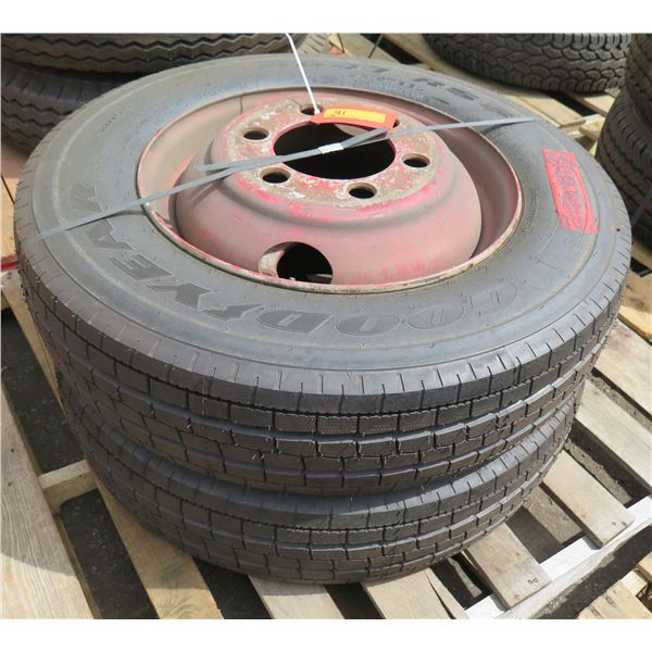 Qty 2 Used Goodyear Tires on Rims 8R19.5