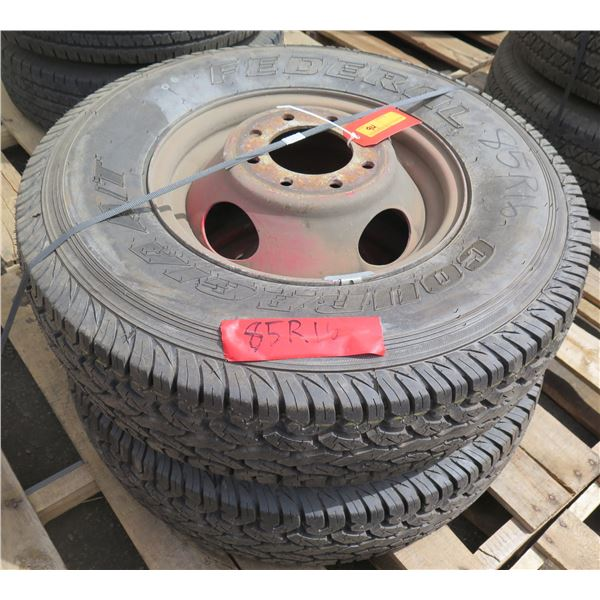 Qty 2 New Federal Tires on Rims 235-85/R16
