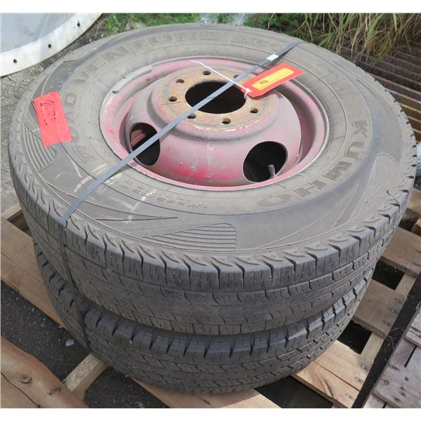 Qty 2 Used Kumho Tires on Rims 235-85/R16