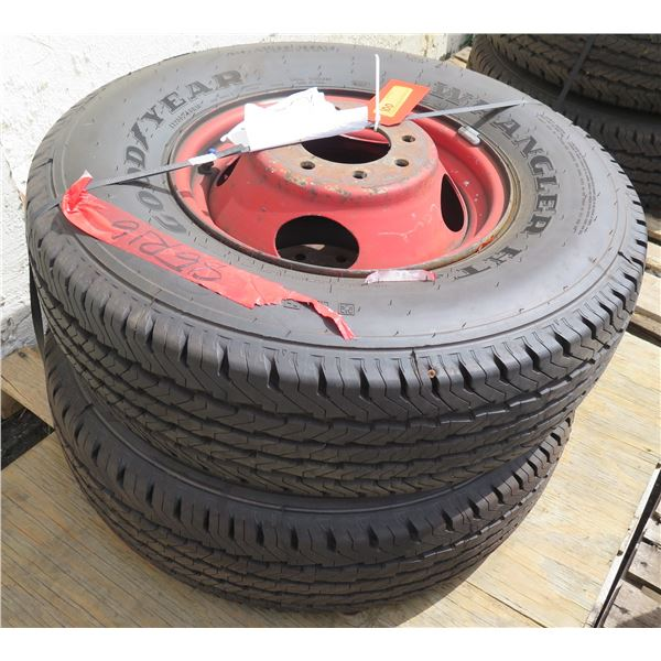 Qty 2 Like-New Goodyear Tires on Rims 135-85/R16 (approx. 90% of tread left)