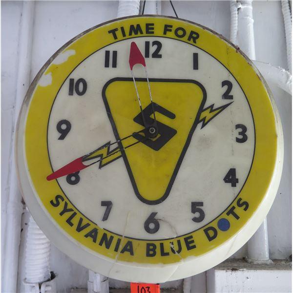 "Sylvania Blue Dots Decorative Electric Wall Clock 15"" Diameter"