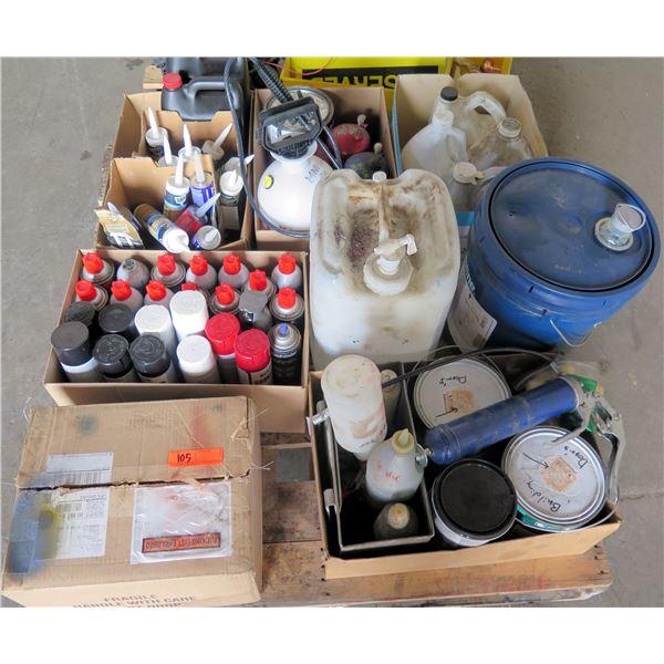 Pallet Misc Paint, Spray Primer, Enamel, Lube, Grease Guns, Oil Cans, etc